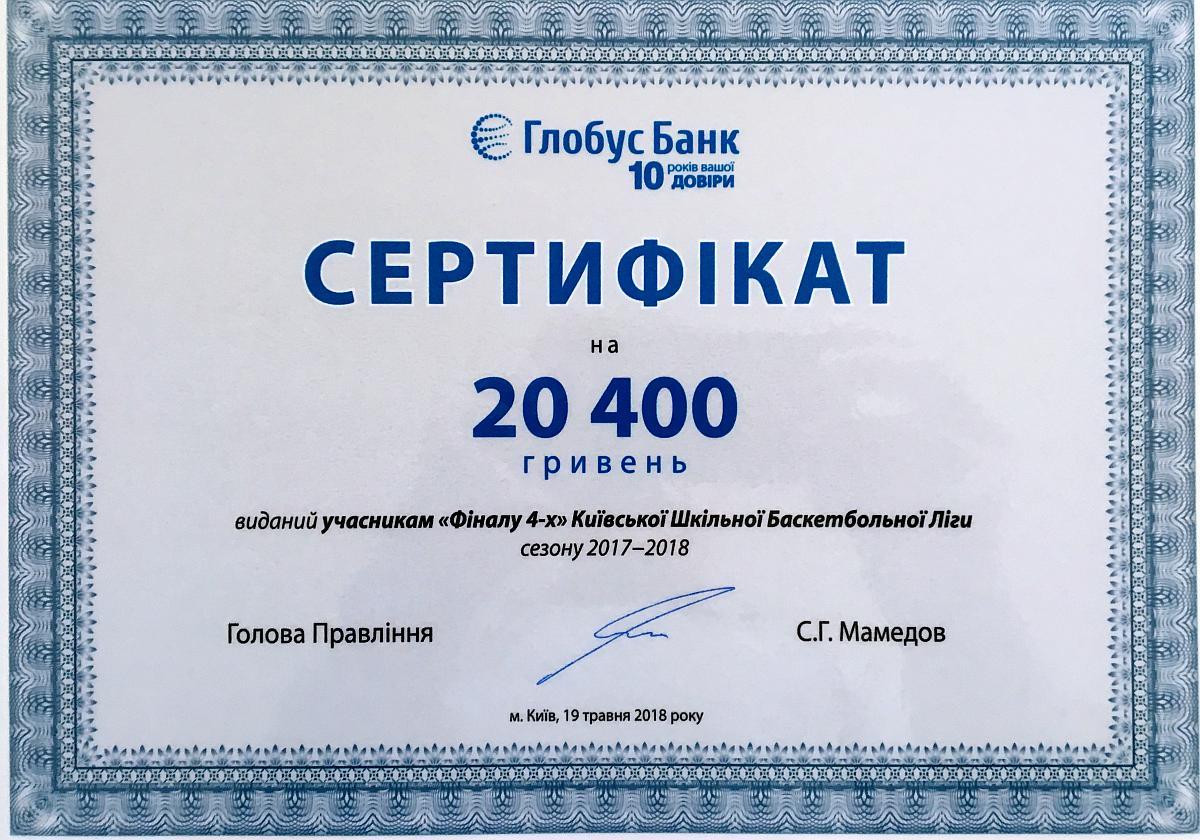 """Призовий фонд для всіх учасників """"Фіналу 4"""" КШБЛ 2018 від керівництва Банку """"Глобус"""""""