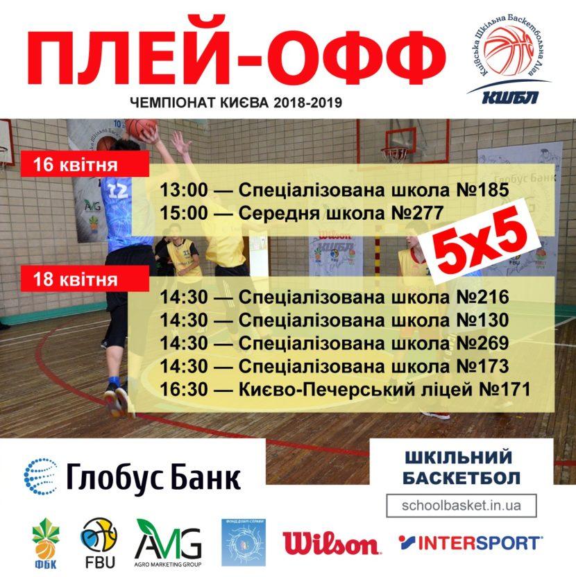 Плей-офф Київської шкільної Баскетбольної Ліги 5x5 сезону 2018-2019